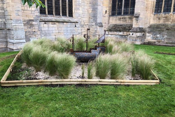 A replica ship made from metal has been installed in the grounds of Boston Stump